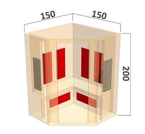 Full Spectrum infraroodsauna hoek afmetingen