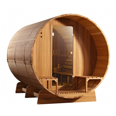 Barrel sauna Clear Red Cedar zijaanzicht