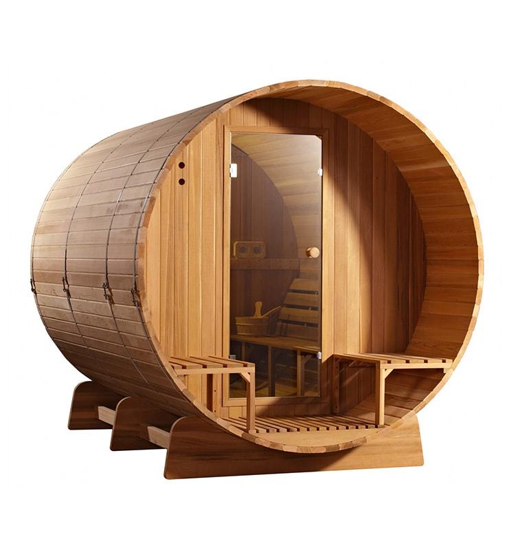 Barrel sauna Clear Red Cedar zijaanzicht