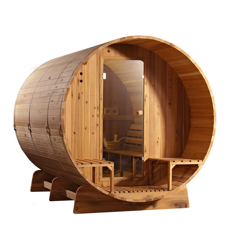 Barrel sauna Knotty zijaanzicht