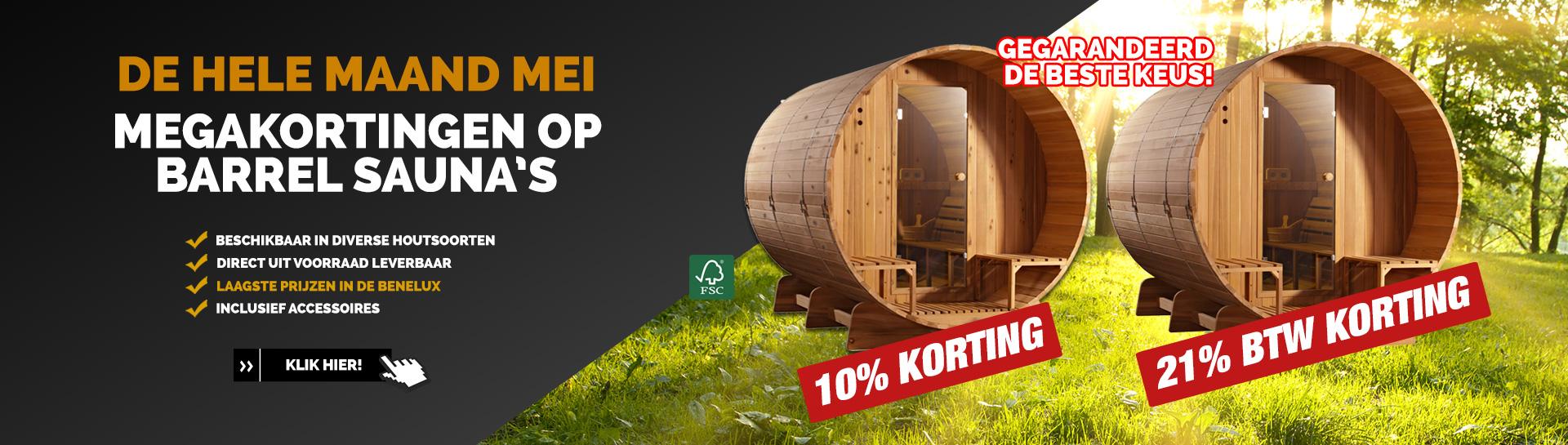 Barrel sauna actie mei