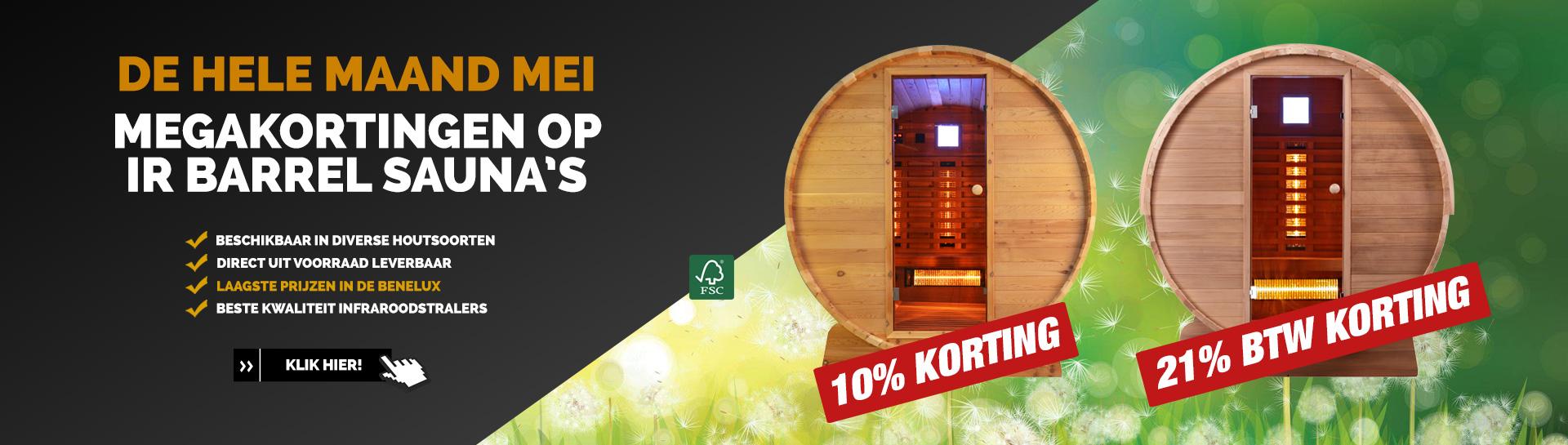 Infrarood barrel sauna actie mei