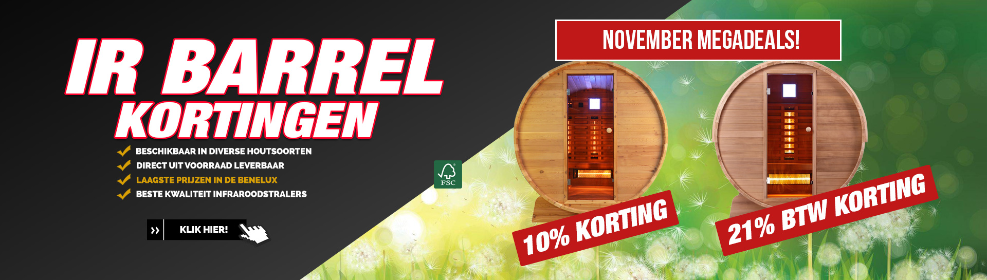 Barrel sauna infrarood november actie