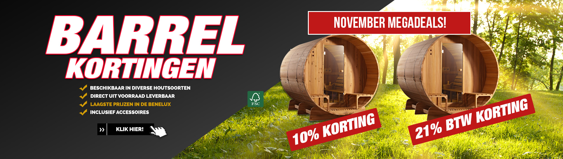 Barrel sauna november actie