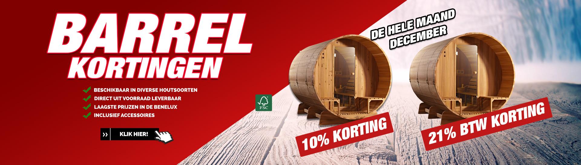 Barrel sauna december actie