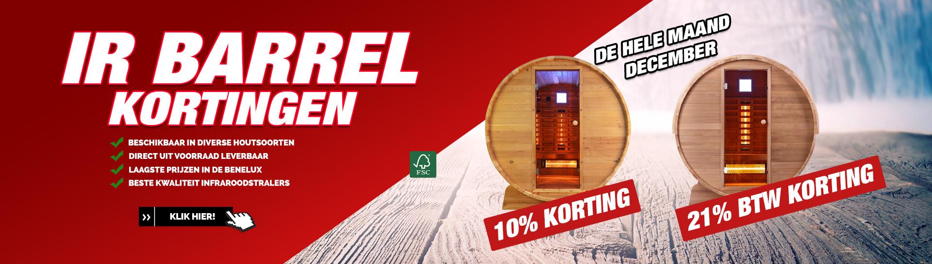 Infrarood barrel sauna december actie